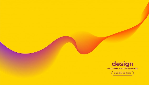 Abstract colorful wave lines in yellow background design Free Vector