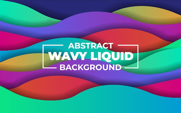 Abstract colorful wavy liquid background Premium Vector