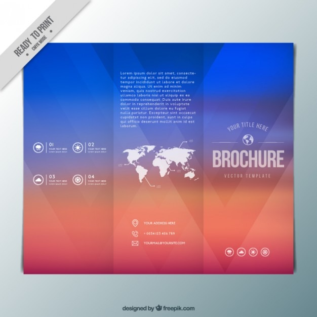 abstract colors trifold with a map vector