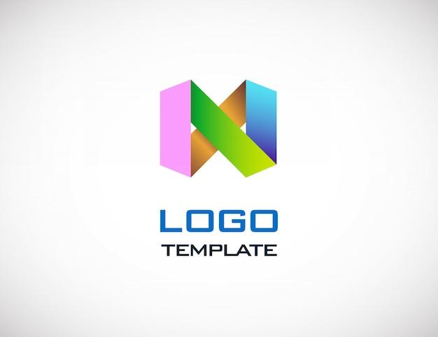抽象的なカラフルな折り紙のロゴのテンプレート Premiumベクター