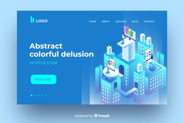 Abstract colourful delusion concept landing page Free Vector