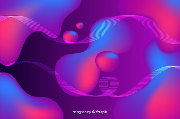 Abstract colourful flow shapes background Free Vector