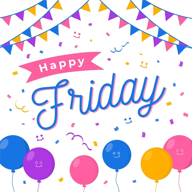 Abstract colourful happy friday background Free Vector