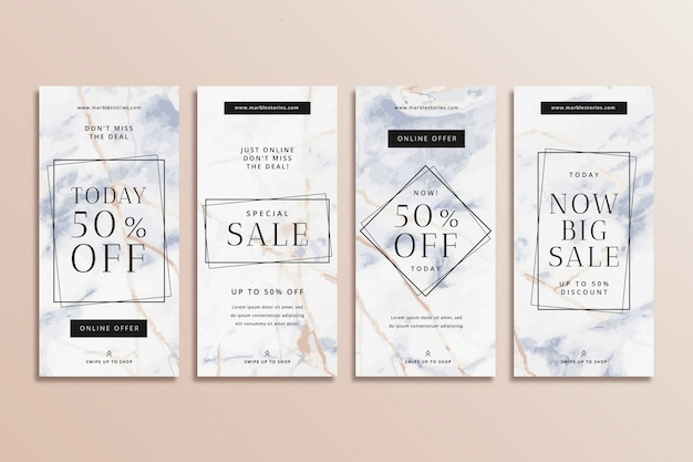 Abstract colourful instagram sale stories in marble style set Free Vector