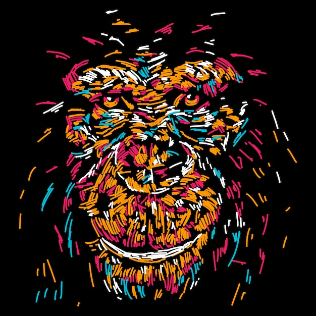 Abstract colourful monkey face illustration Premium Vector