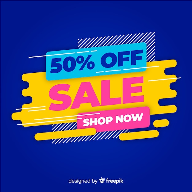 Abstract colourful sale banner Free Vector