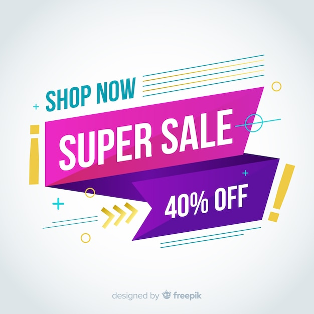 Abstract colourful sales banner design Free Vector
