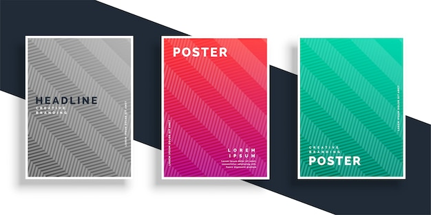 Abstract colroful zigzag pattern poster design set Free Vector