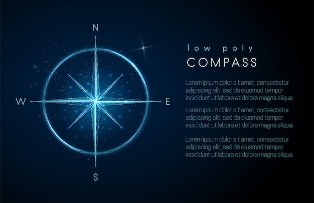 Abstract compass icon. low poly style design Premium Vector