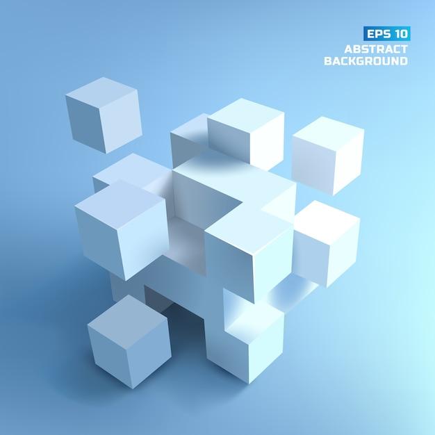 Composizione astratta da cubi bianchi con ombre su sfondo grigio blu Vettore gratuito
