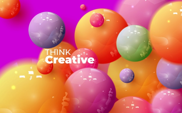Abstract composition with 3d spheres cluster. colorful glossy bubbles. vector realistic illustration of balls. trendy banner or poster design. futuristic background Premium Vector