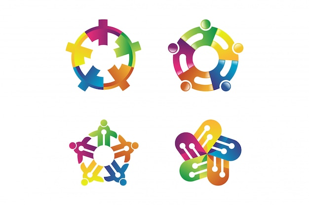 Abstract concept for colorful community people logo. people community symbol Premium Vector