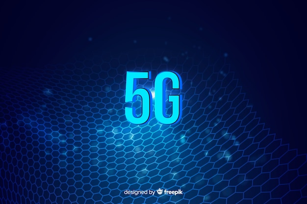 Abstract concept graphic element with 5g Free Vector