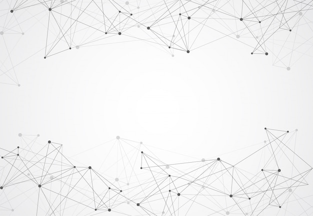 Abstract connecting dots and lines geometric background Premium Vector