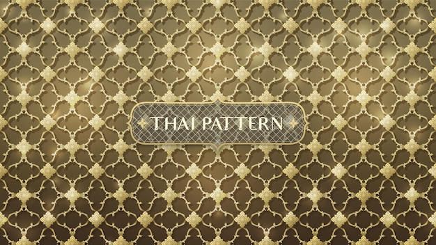 Abstract connecting gold thai pattern Premium Vector