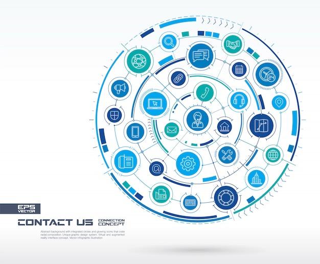 抽象的なお問い合わせ、コールセンターの背景。統合された円、輝く線のアイコンを持つデジタル接続システム。ネットワークシステムグループ、インターフェイスの概念。将来のインフォグラフィックイラスト Premiumベクター