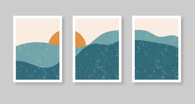 風景、山、太陽と抽象的な現代的な美的背景。自由奔放に生きる壁の装飾。 Premiumベクター