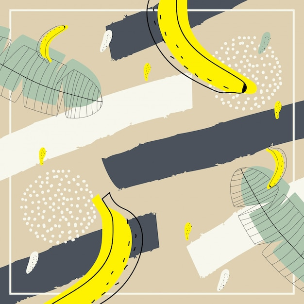 Abstract contemporary art with banana pattern for background Premium Vector