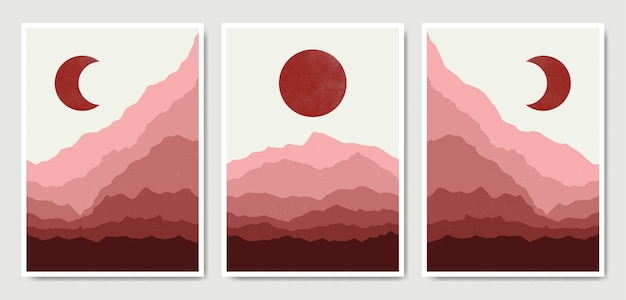 Abstract contemporary landscape boho poster template collection. Premium Vector