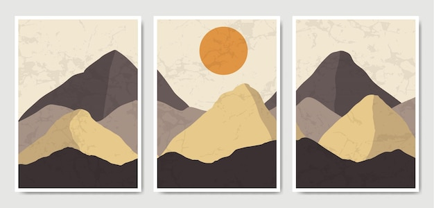 Abstract contemporary mid century modern landscape boho poster template collection. Premium Vector
