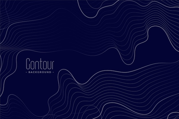 Abstract contour lines dark blue background Free Vector