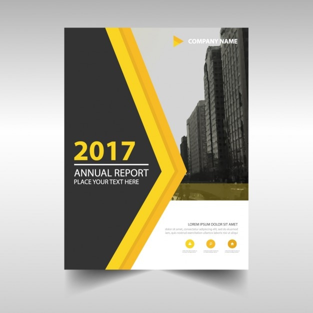 Abstract Cover Of Annual Report 2017 With Yellow Detail