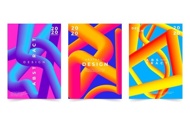 Абстрактная обложка с пакетом градиентных фигур Бесплатные векторы
