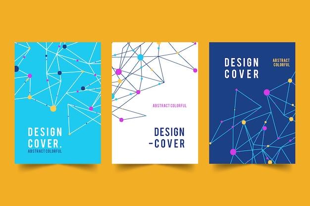 Абстрактные обложки с коллекцией линий и точек Premium векторы