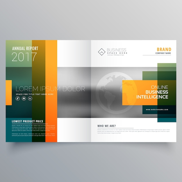 Abstract Creative Bi Fold Brochure Template Or Magazine Cover Page - Double fold brochure template