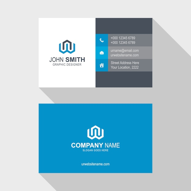 Abstract Creative Business Card Template Design Vector Premium