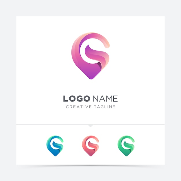 Abstract creative map pin letter g logo variation Premium Vector