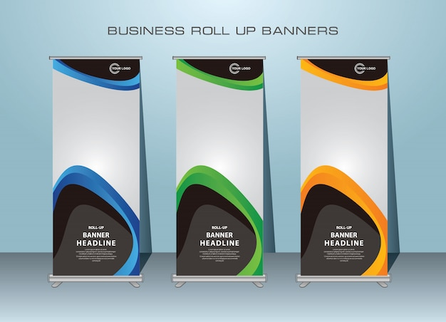 Abstract creative roll up template design Premium Vector