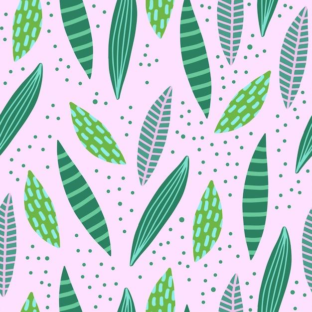 Абстрактные творческие бесшовные модели с тропическими листьями. Premium векторы