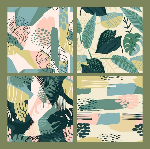 Абстрактные творческие бесшовные модели с тропическими растениями и художественного фона. Premium векторы