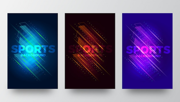 Abstract creative sports background templates Premium Vector