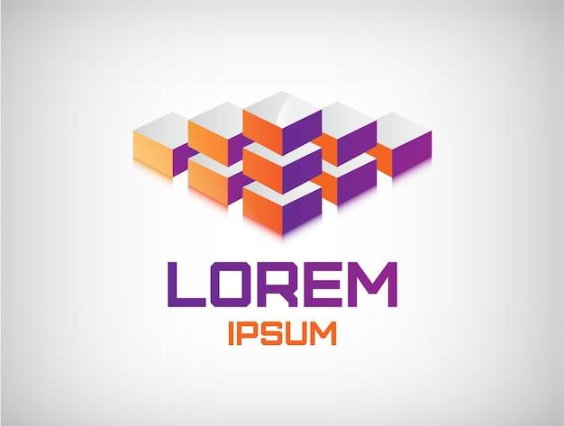 抽象的なキューブ構造、ビルディングブロック、分離されたロゴ Premiumベクター