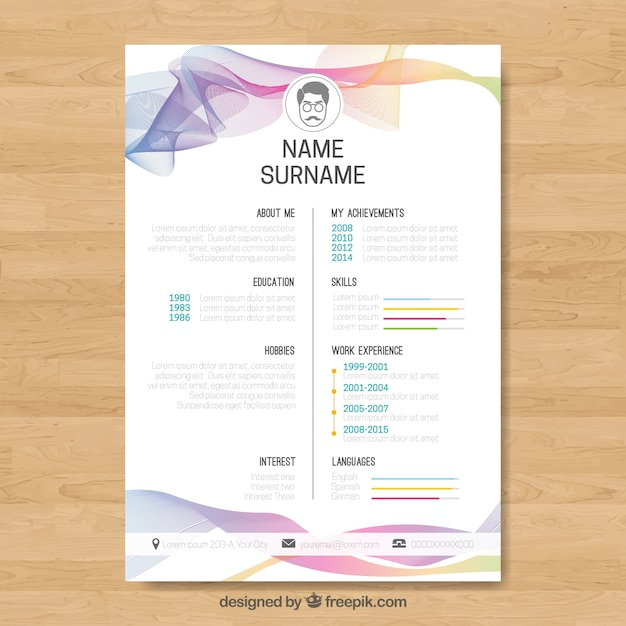 abstract curriculum template with colorful waves vector