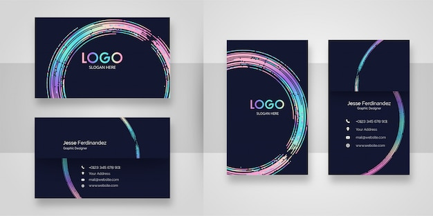 Abstract curved shape business card template Premium Vector