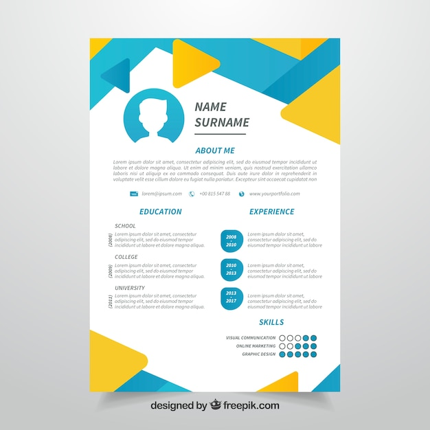 abstract cv blue and yellow template vector