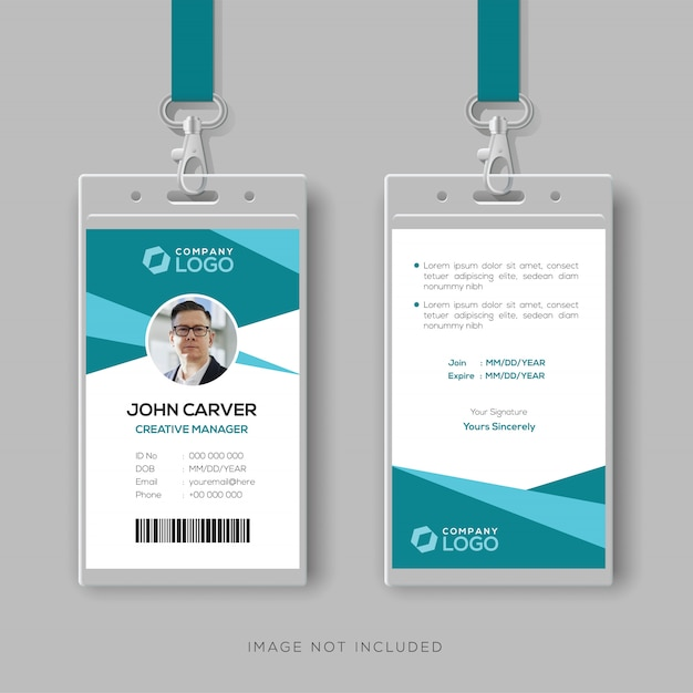 Abstract cyan id card design template Premium Vector