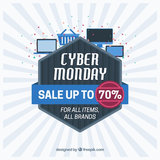 Abstract cyber monday design in flat style