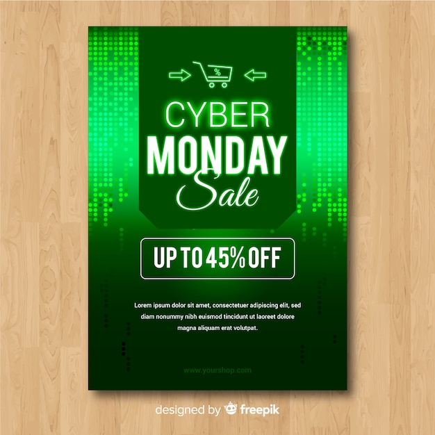 abstract cyber monday sale flyer template in green vector free