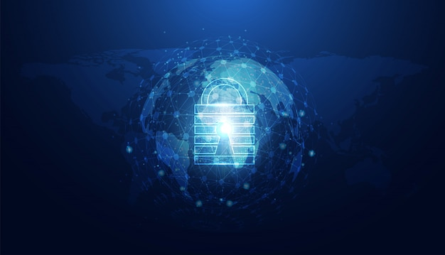 Abstract cyber security with padlock blue world circle Premium Vector