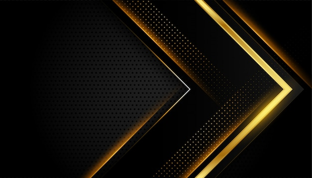 Abstract dark black and gold shiny golden lines Free Vector