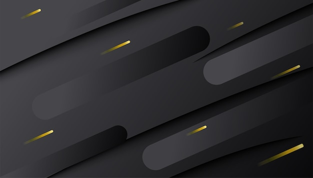 Abstract dark gradient dynamic shape with golden lines. minimal geometric 3d composition. Free Vector