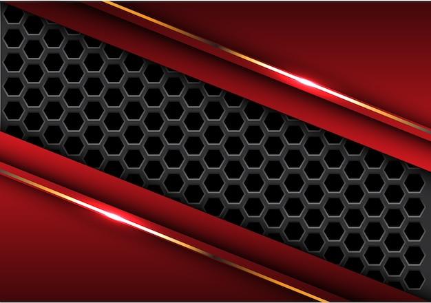 赤い三角のゴールドラインの抽象的なダークグレーの六角形メッシュ Premiumベクター
