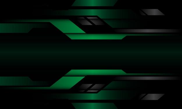 Абстрактный темно-зеленый серый металлик геометрические кибер цепи дизайн современный футуристический фон технологии. Premium векторы