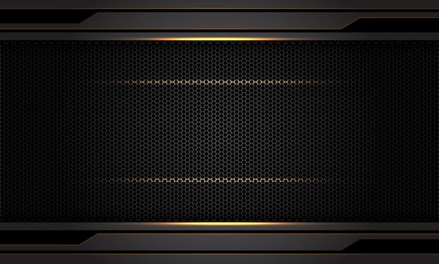 抽象的な暗い灰色金属金光黒六角形メッシュパターン背景。 Premiumベクター