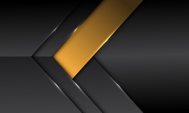 Abstract dark grey metallic yellow banner arrow direction with blank space design modern futuristic background Premium Vector