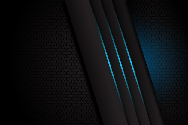 Abstract Dark Grey With Blue Light Line On Blank Space